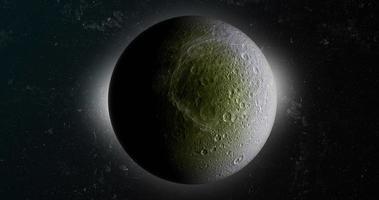 dione, lune de saturne, en rotation. rendu 3D video