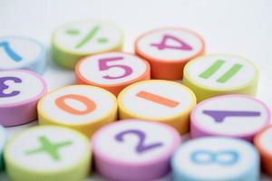 Math number colorful on white background photo