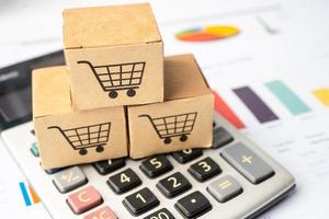 Shopping cart online logo on box with graph photo