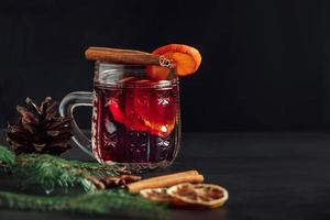 Traditional Christmas warming mulled wine. photo