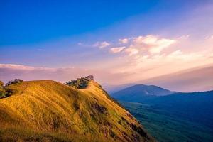 landscape golden meadow on Mon Chong mount, Chiang Mai, Thailand. photo