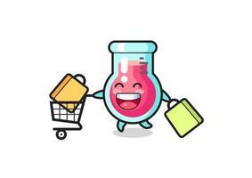 black Friday illustration with cute laboratory beaker mascot vector