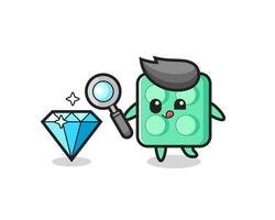 brick toy mascot is checking the authenticity of a diamond vector