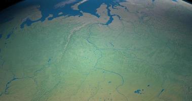 rivière ob sur la planète terre, vue aérienne de l'espace video
