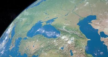 mer d'azov sur la planète terre, vue aérienne de l'espace video