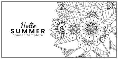 Hello Summer banner template with mehndi flower vector