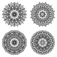 Circular pattern in the form of mandala with flower for henna, mehndi. vector