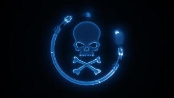 Cyber Technology Skullhead Icon Reveal Intro Fx video