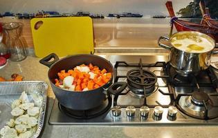 Ingredients for cream soup pumpkin, onions, cauliflower photo