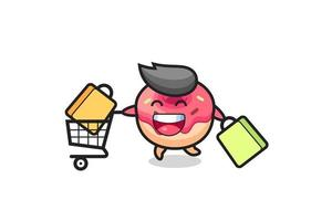 black Friday illustration with cute doughnut mascot vector