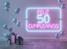 arreglo festivo de neón para el 50 cumpleaños foto