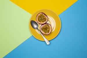 Composition of delicious exotic passion fruit photo