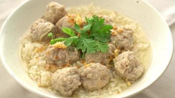 arroz cocido casero con tazón de cerdo video