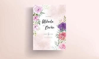 Beautiful floral wedding invitation card template vector