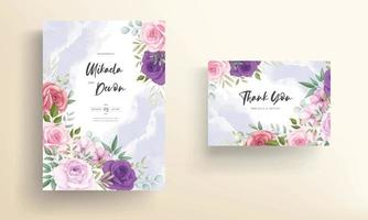 Wedding invitation card with beautiful floral decorations vector