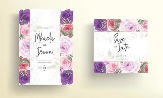 Beautiful wedding invitation designs with beautiful flower ornaments vector