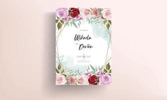 Hand drawn delicate floral wedding invitation card vector