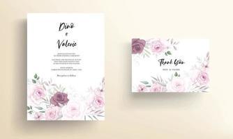 Beautiful hand drawn floral wedding invitation card design vector