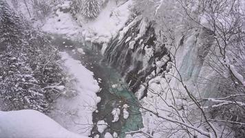 Shirahige water fall in winter at Hokkaido video