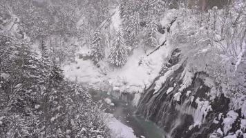 Chute d'eau de Shirahige en hiver à Hokkaido video