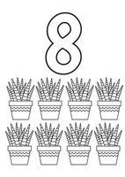 Dibujos para colorear de ocho cactus vector