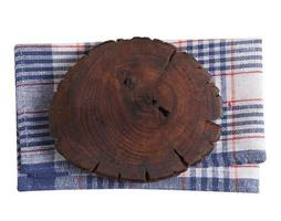 Empty wooden tray and napkin isolated on white background photo
