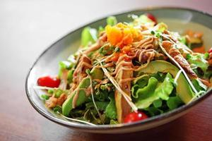 Close up Japanese salad in ceramic dish photo