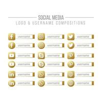 Social Media and Network Golden Logo and Username Box Compositions vector