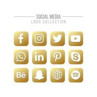Social Media and Network Isolated Golden Logo Collection on White vector
