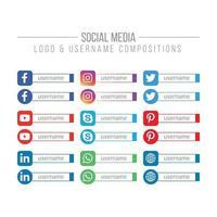 Social Media and Network Logo and Username Templates vector
