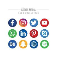 Social Media Isolated Logo Collection on White vector