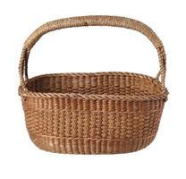 Vintage Thai wicker basket on white background photo