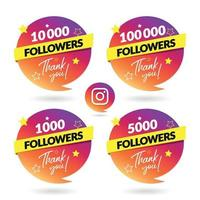 Instagram Followers Celebration Banner and Logo vector