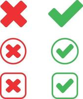 check and wrong icons. set of check marks. Green tick, red cross vector