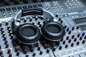 Close-up of boutique recording studio control desk photo
