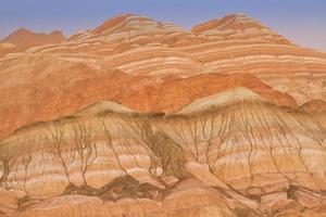 Zhangye, Danxia Landform in Gansu district, China. A geological of colorful sandstone layers is as known the rainbow mountain. photo
