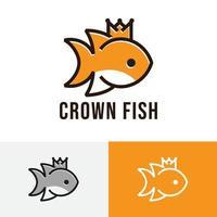Cute Little Crown Fish Line Logo Symbol vector