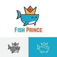Cute Little Crown Fish Water Animal Logo Symbol vector
