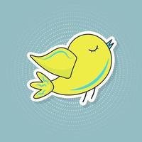 Cute bird sticker in pop art style. vector