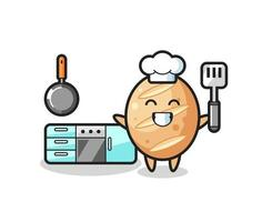 french bread character illustration as a chef is cooking vector