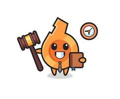 mascota, caricatura, de, silbato, como, juez vector