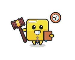 Mascot cartoon of folder as a judge vector
