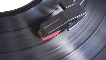 Turntable player spinning to playing video