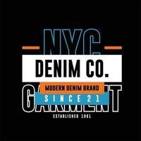 NYC denim co garment simple vintage fashion vector