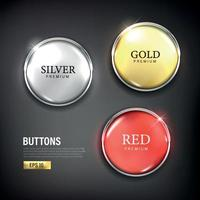 Button set circle modern color gold silver and red vector