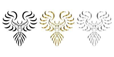 three color black gold silver line art of phoenix bird vector