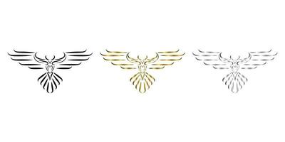 three color black gold silver line art of eagle vector