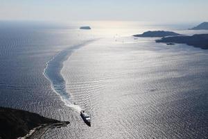 View of beautiful Aegean Sea at Santorini Island, Greece photo