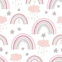 Rainbow cute pattern. Digital paper. Creative childish print. vector
