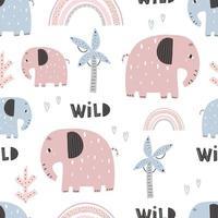 Cute elephant pattern - hand drawn childish seamless pattern design vector